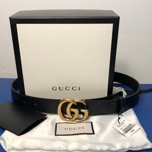 """1"""" Skinny Marmont Gucci Brass GG Black Leather"""